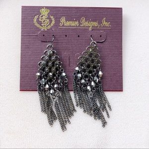 Premier designs earrings gray black NWT